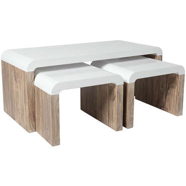 Table basse rectangulaire + 2 tabourets