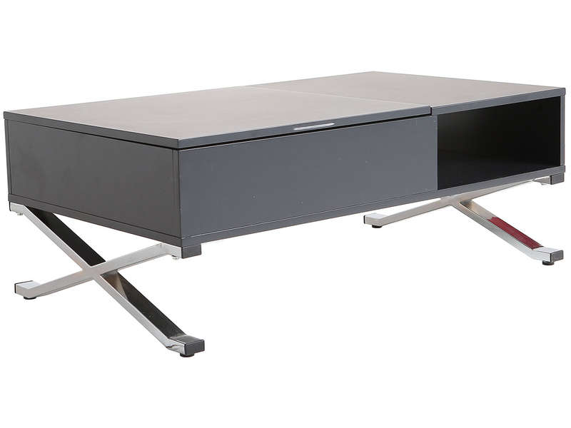 table basse rectangulaire avec plateau relevable manila coloris gris chrome vente de table. Black Bedroom Furniture Sets. Home Design Ideas