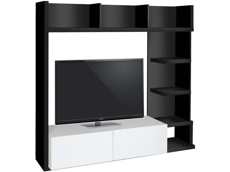 Living tv 159 cm finition brillant leader coloris noir for Meuble living tv
