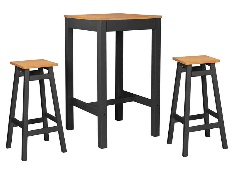 Ensemble table de bar 2 tabourets joy coloris anthracite for Table et tabouret bar