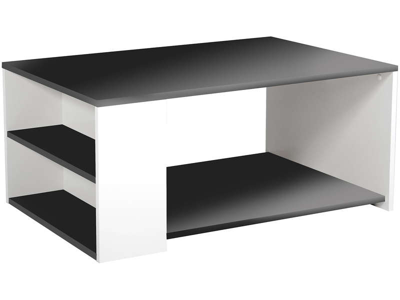 Table basse leader coloris noir blanc vente de table basse conforama - Table basse avec tablette ...