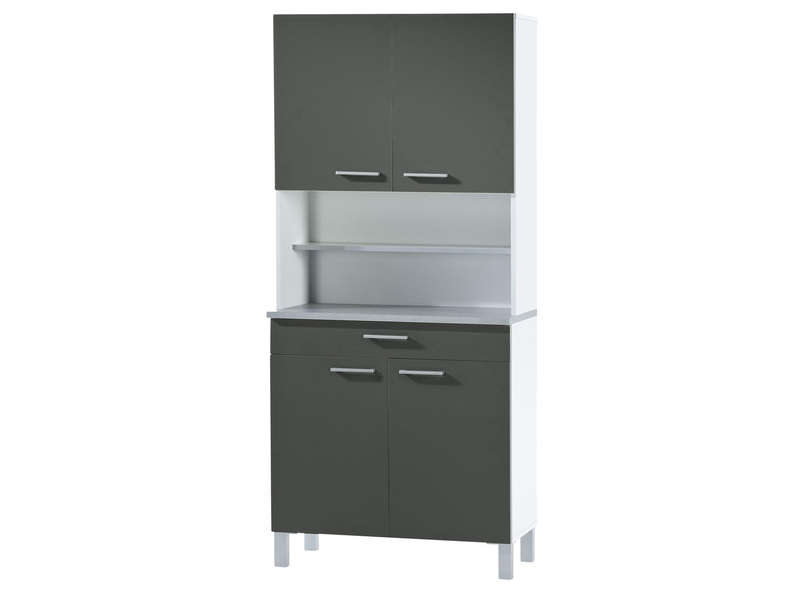 buffet de cuisine cm debora coloris gris blanc. Black Bedroom Furniture Sets. Home Design Ideas