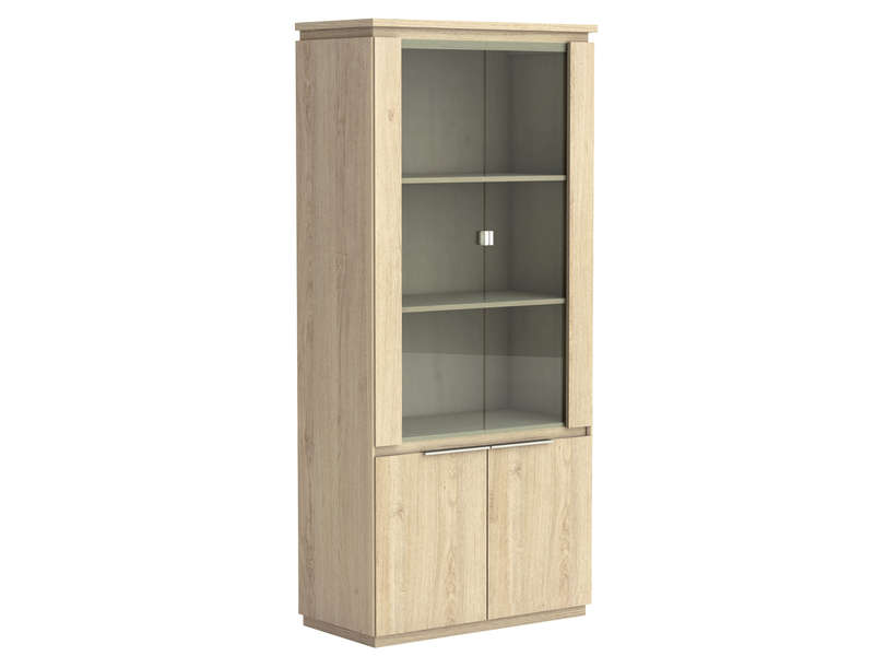 vitrine 2 portes en verre origin arizona coloris beige vente de biblioth que et vitrine. Black Bedroom Furniture Sets. Home Design Ideas