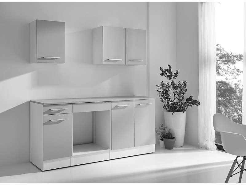 bloc cuisine cm greta 2 blanc gris vente de les. Black Bedroom Furniture Sets. Home Design Ideas