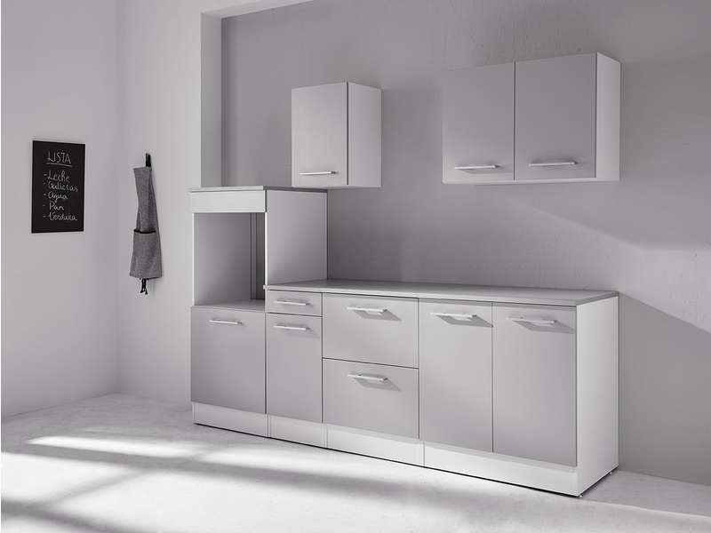 bloc cuisine 240 cm greta 3 blanc gris vente de les. Black Bedroom Furniture Sets. Home Design Ideas
