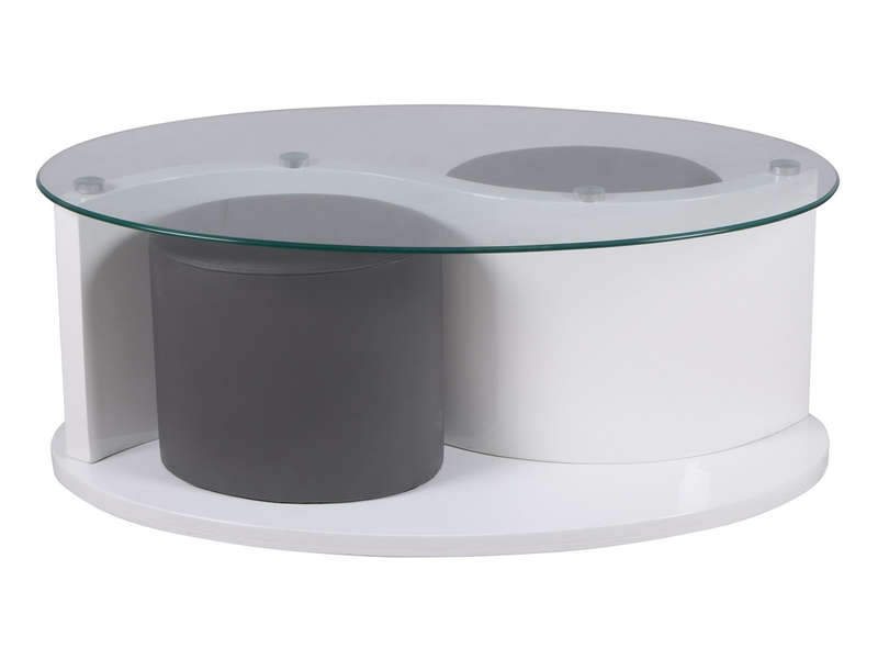 Table basse louna coloris blanc chez conforama - Table salon verre conforama ...