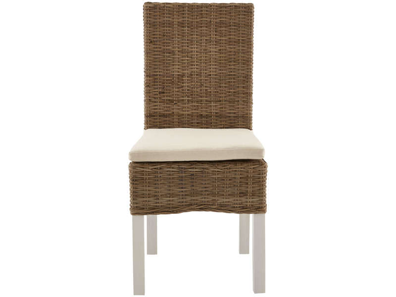 Chaise en osier coussin duke coloris naturel cru for Table et chaise conforama