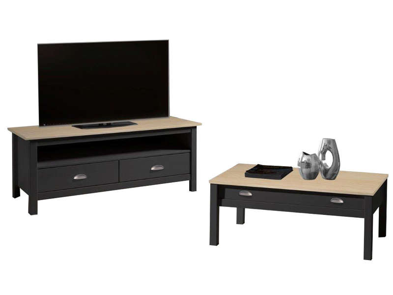 meuble tv 110 cm finition verni amazone coloris anthracite et ch ne chez conforama. Black Bedroom Furniture Sets. Home Design Ideas