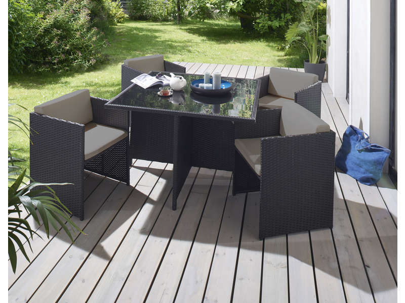 salon de jardin 1 table et 4 fauteuils andreas coloris. Black Bedroom Furniture Sets. Home Design Ideas