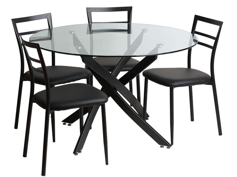 ensemble table ronde et 4 chaises riberto coloris noir chez conforama. Black Bedroom Furniture Sets. Home Design Ideas