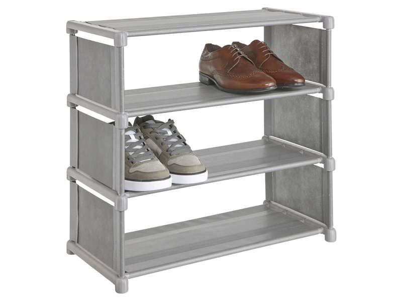 porte chaussures 8 paires chouky coloris gris vente de meuble chaussures conforama. Black Bedroom Furniture Sets. Home Design Ideas