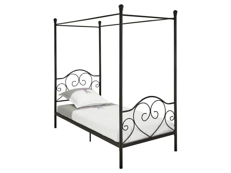lit baldaquin 90x190 cm romane coloris noir vente de lit enfant conforama. Black Bedroom Furniture Sets. Home Design Ideas