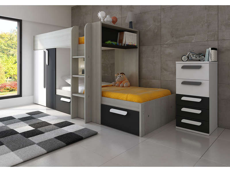 lit superpos 90x190 cm duo f4 vente de lit enfant conforama. Black Bedroom Furniture Sets. Home Design Ideas