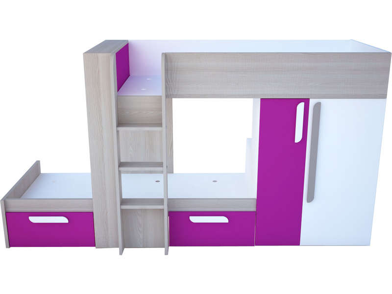 lit superpos 90x190 cm duo coloris fuchsia vente de lit enfant conforama. Black Bedroom Furniture Sets. Home Design Ideas
