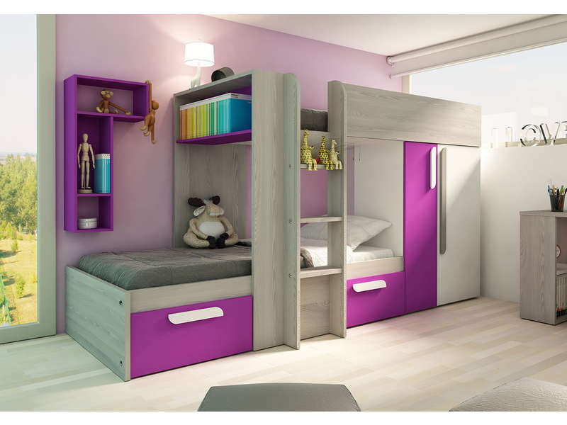 lit superpos 90x190 cm duo coloris fuchsia vente de lit. Black Bedroom Furniture Sets. Home Design Ideas