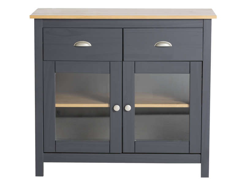 buffet 2 portes 2 tiroirs amazone coloris gris ch ne pas cher avis et prix en promo. Black Bedroom Furniture Sets. Home Design Ideas