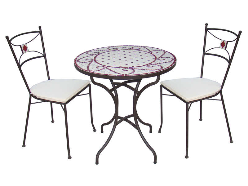 Table de jardin ronde cm guell en mosaic et m tal vente de table conforama for Chemin de table conforama
