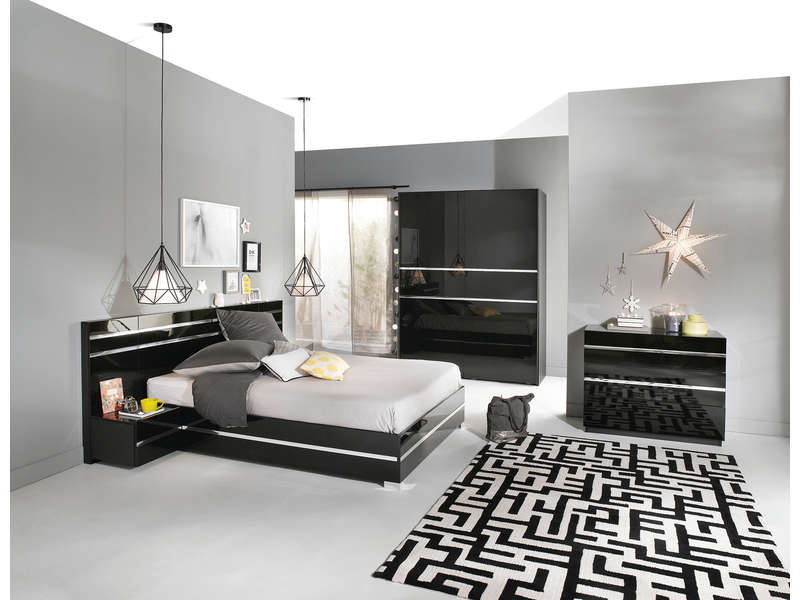 lit adulte 140x190 cm glass coloris noir vente de lit adulte conforama. Black Bedroom Furniture Sets. Home Design Ideas