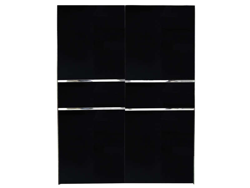 armoire 2 portes coulissantes glass coloris noir vente. Black Bedroom Furniture Sets. Home Design Ideas
