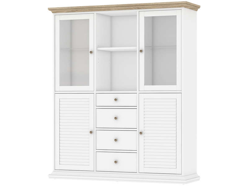 vaisselier 4 portes 4 tiroirs chaumont coloris ch ne blanc vente de buffet bahut. Black Bedroom Furniture Sets. Home Design Ideas