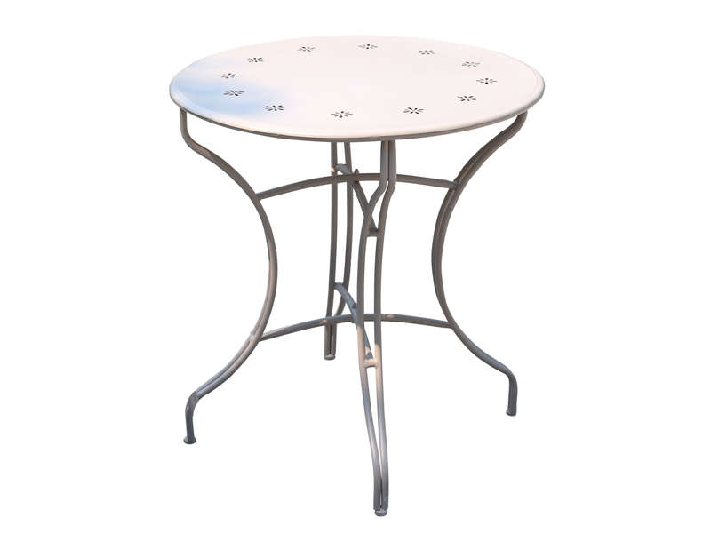 table de jardin ronde en m tal cm flores coloris blanc vente de table conforama. Black Bedroom Furniture Sets. Home Design Ideas