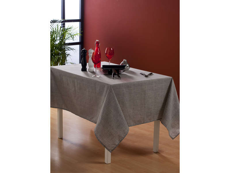 nappe rectangulaire 140x240 cm coloris gris chez conforama. Black Bedroom Furniture Sets. Home Design Ideas