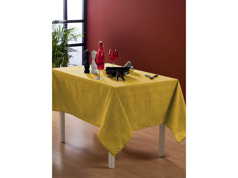 Nappe rectangulaire 140x240 cm coloris jaune chez conforama for Tv 140 cm conforama