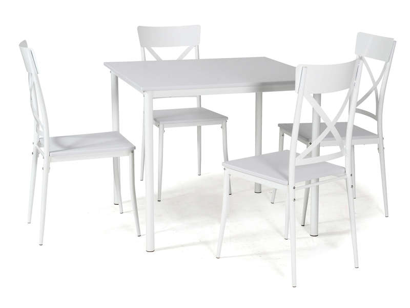Ensemble table carr e et 4 chaises de cuisine romy coloris blanc vente de ensemble table et for Chaise et table de cuisine