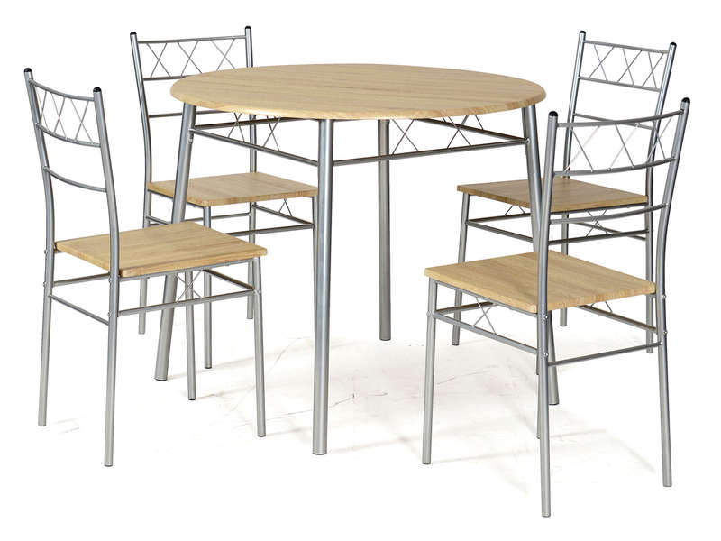 Ensemble table ronde et 4 chaises de cuisine lota coloris for Table ronde 4 chaises