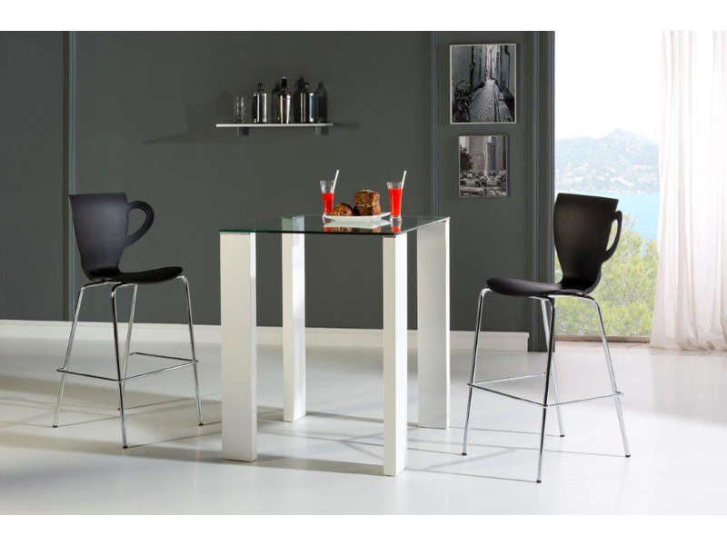 Ensemble table haute 4 chaises brandy coloris blanc noir for Ensemble table et chaise de cuisine blanc