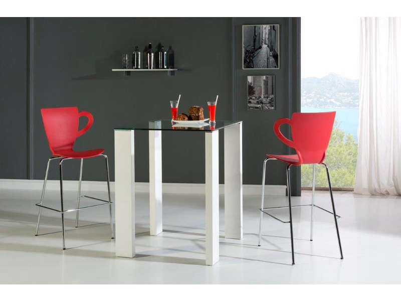 Ensemble table haute 4 chaises brandy coloris blanc for Ensemble table et chaise de cuisine blanc