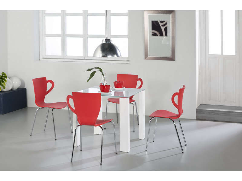 Ensemble table 4 chaises loise coloris blanc rouge chez for Ensemble table et chaise de cuisine blanc