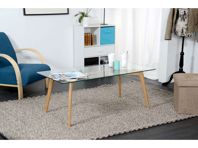 Table basse rectangulaire avec plateau en verre loom for Table scandinave verre