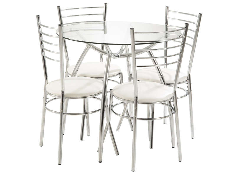 Table Ronde 80 Cm + 4 Chaises