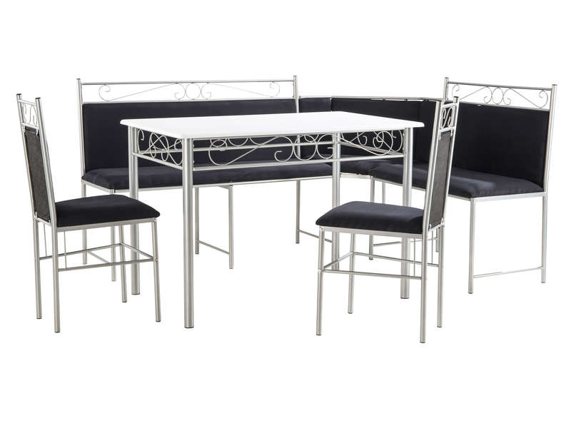 ensemble repas 2 chaises corner coloris noir blanc chez conforama. Black Bedroom Furniture Sets. Home Design Ideas