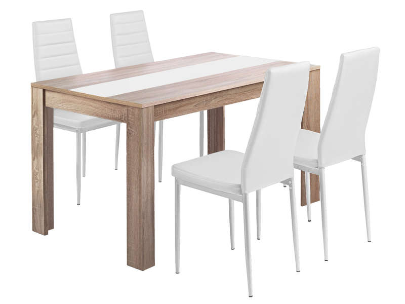 Ensemble table et 4 chaises de cuisisne spring coloris blanc vente de ensemble table et chaise - Ensemble chaise et table ...