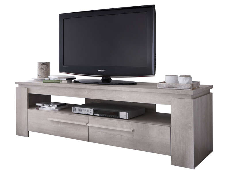 meuble tv brent coloris ch ne cr me chez conforama. Black Bedroom Furniture Sets. Home Design Ideas
