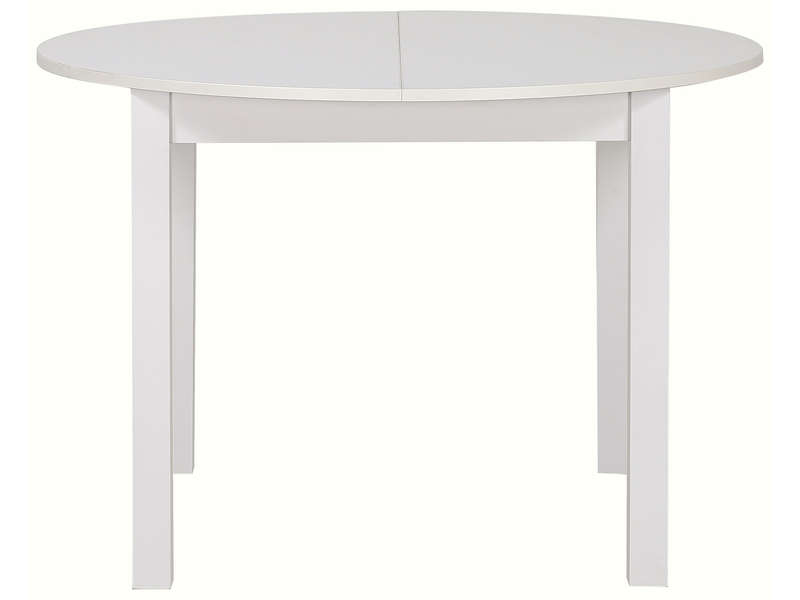 Table ronde avec allonge 160 cm max nova coloris blanc for Table de cuisine ronde chez conforama