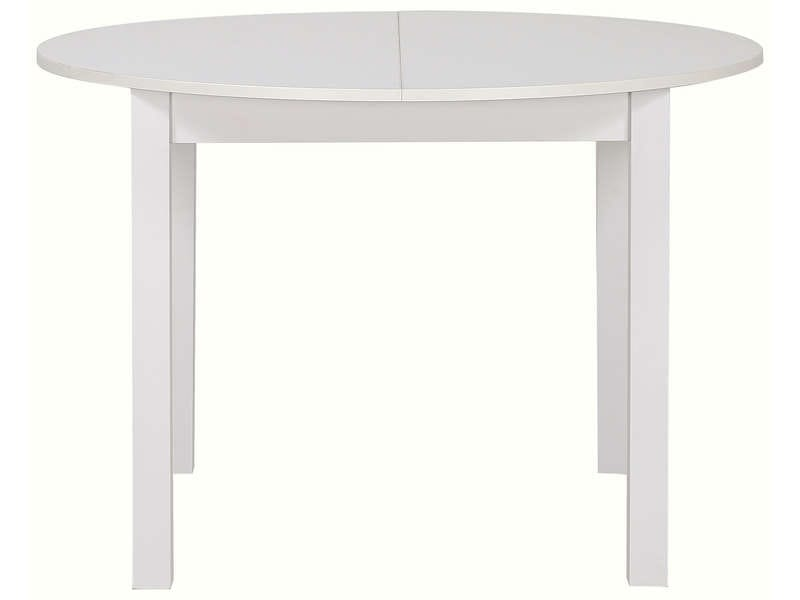Table ronde avec allonge 160 cm max nova coloris blanc for Table ronde 110 cm avec rallonge