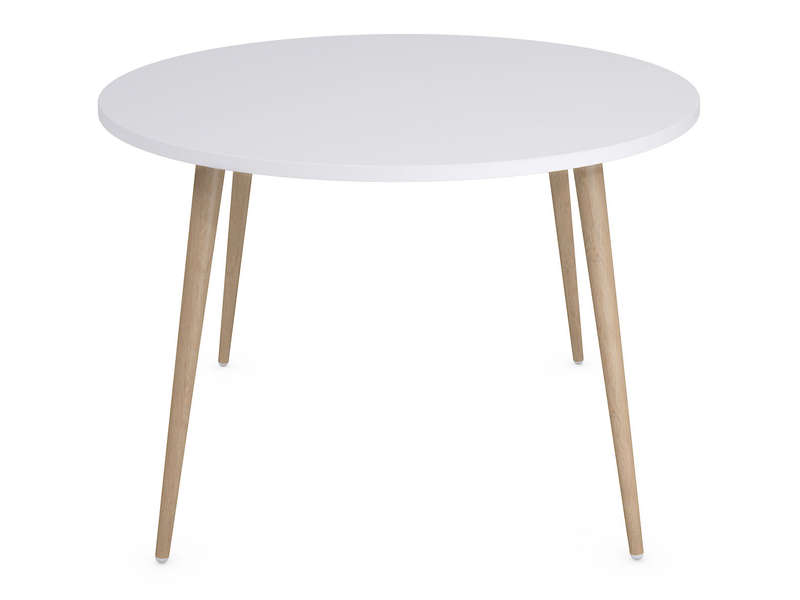 Table ronde 120 cm soren coloris blanc ch ne clair vente for Table blanche conforama