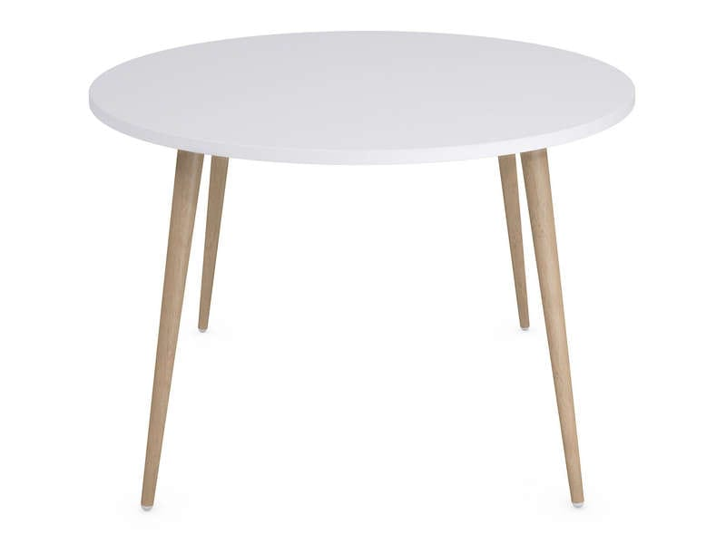 Table ronde 120 cm soren coloris blanc ch ne clair vente - Table ronde 110 cm ...