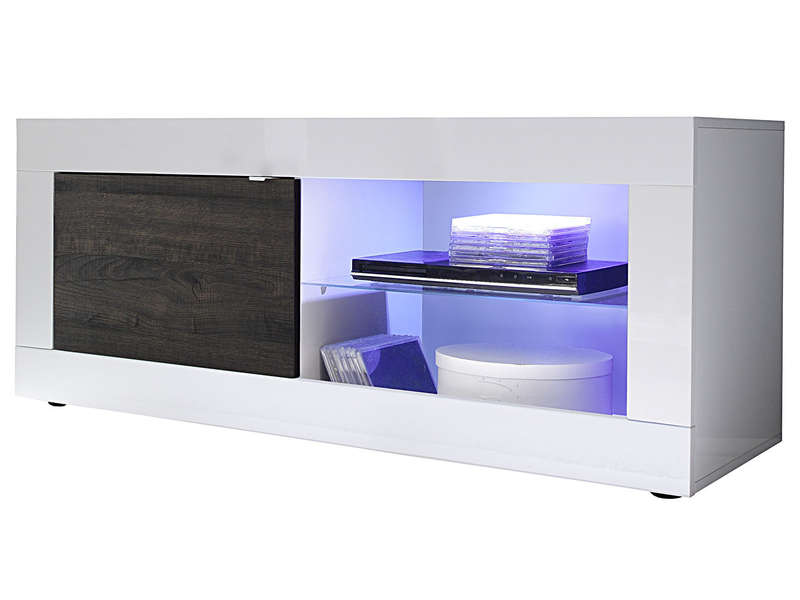 Meuble tv 140 cm topic coloris blanc weng vente de for Tv 140 cm conforama