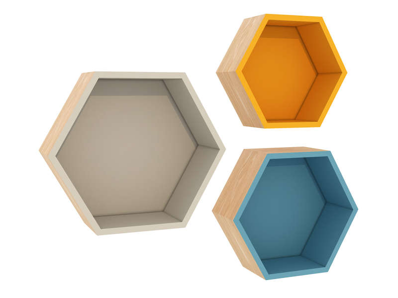 3 tag res hexagonales helsi coloris multicolore chez conforama. Black Bedroom Furniture Sets. Home Design Ideas