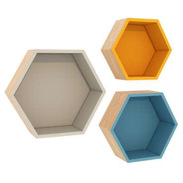 3 étagères hexagonales HELSI coloris multicolore