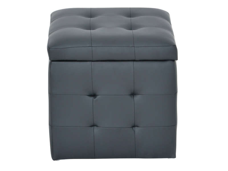 pouf avec coffre de rangement caroline 2 coloris noir vente de pouf conforama. Black Bedroom Furniture Sets. Home Design Ideas