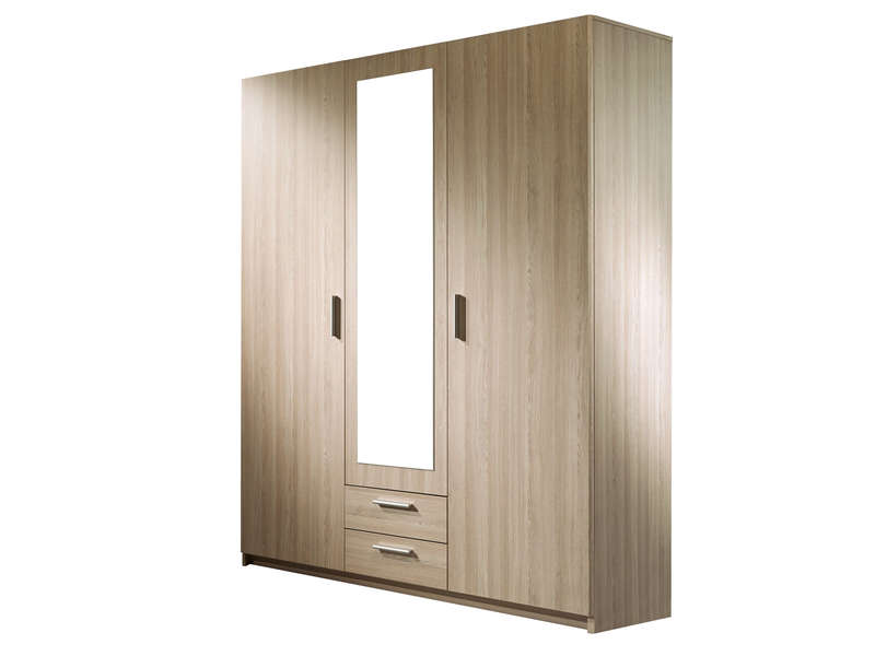 armoire 3 portes detroit coloris marron vente de armoire. Black Bedroom Furniture Sets. Home Design Ideas