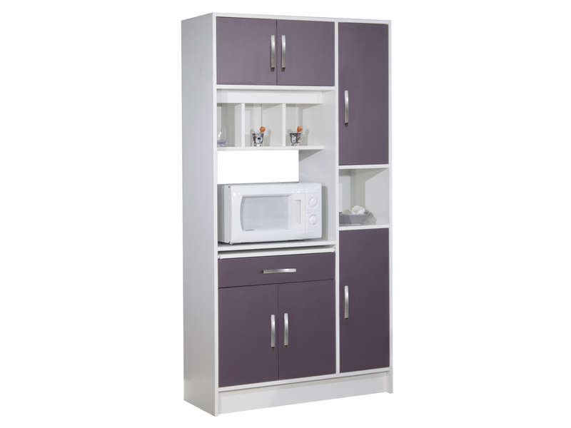 buffet de cuisine cm nanny coloris blanc aubergine. Black Bedroom Furniture Sets. Home Design Ideas