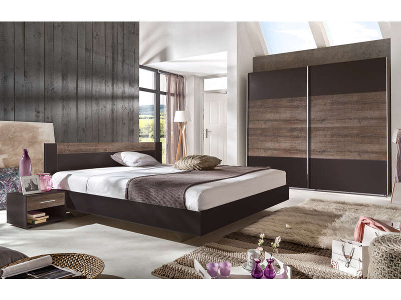 chambre compl te louna coloris ch ne vente de chambre. Black Bedroom Furniture Sets. Home Design Ideas