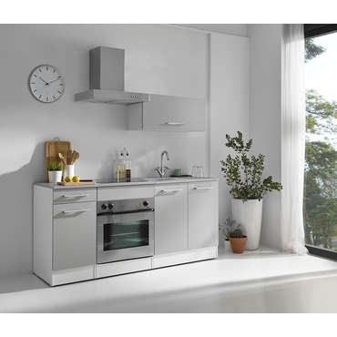 bloc cuisine 180 cm cincuenta coloris blanc gris vente. Black Bedroom Furniture Sets. Home Design Ideas