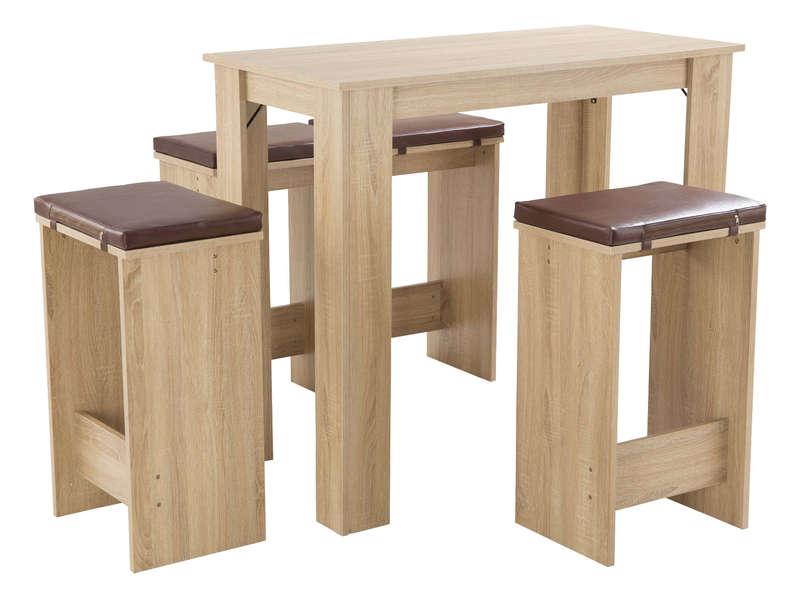 Table bar + 4 tabourets TESS coloris bois/chocolat